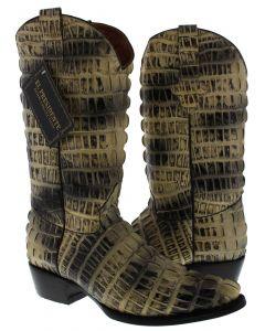 Men's Natural Full Alligator Tail Design Western Cowboy Boots J Toe