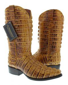 Men's Yellow Full Alligator Tail Design Western Cowboy Boots J Toe