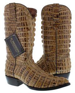 Men's Rustic Sand Full Alligator Tail Design Western Cowboy Boots J Toe