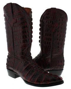 Men's Black Cherry Full Alligator Tail Design Western Cowboy Boots J Toe