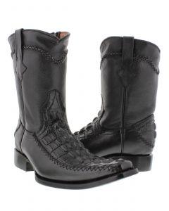 Men's Black Crocodile Alligator Tail Dress Pullon Cowboy Boots with Zipper