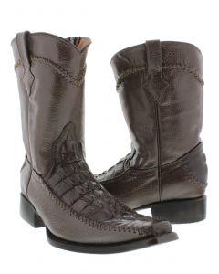 Men's Brown Crocodile Alligator Tail Dress Pullon Cowboy Boots with Zipper