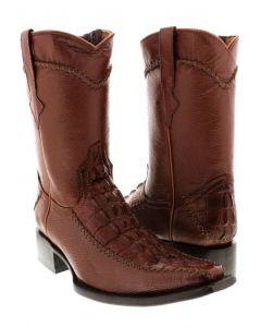 Men's Cognac Crocodile Alligator Tail Dress Pullon Cowboy Boots with Zipper