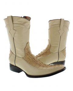 Men's Beige Crocodile Alligator Tail Dress Pullon Cowboy Boots with Zipper