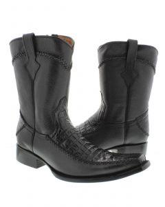 Men's Black Exotic Crocodile Alligator Belly Cut Cowboy Boots Square Toe.