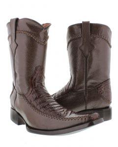 Men's Brown Exotic Crocodile Alligator Belly Cut Cowboy Boots Square Toe