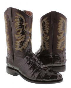 Men's Brown Crocodile Tail Design Leather Cowboy Boots Roper