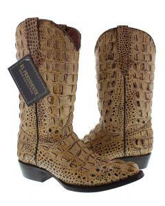 Men's Rustic Sand Full Alligator Hornback Western Cowboy Boots J Toe