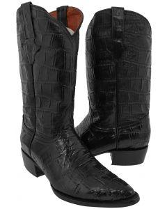 Men's Black Full Crocodile Big Belly Print Leather Cowboy Boots J Toe - EP1