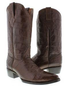 Men's Brown Original Western Full Crocodile Alligator Big Belly Pattern J Toe