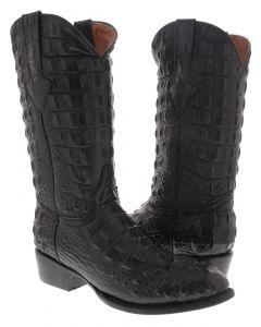 Men's Black Full Alligator Hornback Design Western Cowboy Boots Round Toe