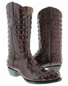 Men's Black Cherry Full Alligator Hornback Design Western Cowboy Boots Round Toe