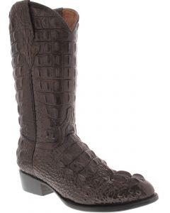 Men's Brown Full Alligator Hornback Design Western Cowboy Boots Round Toe