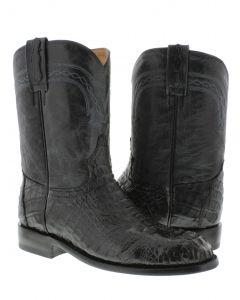 Men's Black Real Crocodile Hornback Leather Cowboy Boots Roper Toe