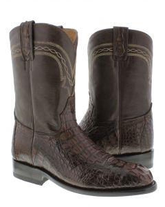 Men's Brown Real Crocodile Hornback Leather Cowboy Boots Roper Toe