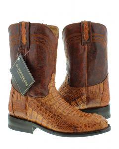 Men's Cognac Brown Real Crocodile Hornback Leather Cowboy Boots Roper Toe