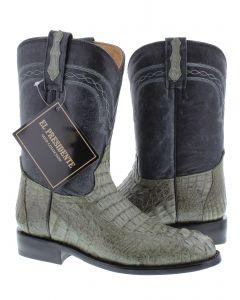 Men's Gray Real Crocodile Hornback Leather Cowboy Boots Roper Toe