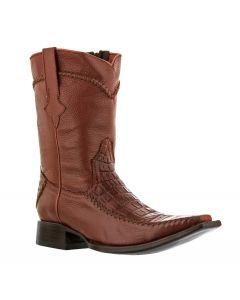 Men's Cognac Brown Exotic Crocodile Alligator Belly Cowboy Boots Square Toe.