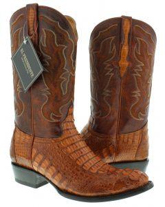 Men's Cognac Brown Real Crocodile Hornback Leather Cowboy Boots Round Toe