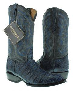 Men's Denim Blue Real Crocodile Tail Leather Cowboy Boots J Toe