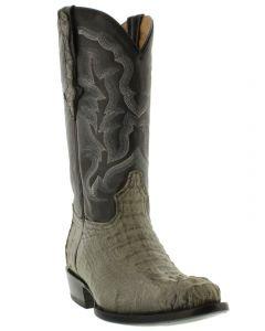 Men's Gray Real Crocodile Hornback Leather Cowboy Boots J Toe