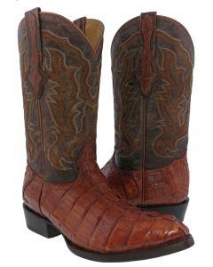 Men's Cognac Brown Real Crocodile Tail Leather Cowboy Boots J Toe