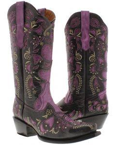 Women's 830 Purple Half Overlay Design Leather Cowboy Boots Snip Toe - CP2
