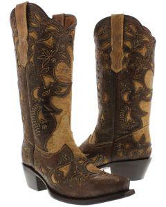 Women's 830 Beige Half Overlay Design Leather Cowboy Boots Snip Toe - CP2