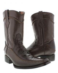 Men's Brown Rockerz Sea Turtle Print Leather Western Cowboy Boots Square Toe