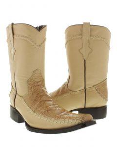Men's Sand Rockerz Sea Turtle Exotic Leather Western Cowboy Boots Square Toe