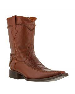 Men's Cognac Rockerz Sea Turtle Print Leather Western Cowboy Boots Square Toe