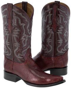 Men's Burgundy Genuine Lizard Skin Leather Cowboy Boots 3X Toe - EP1