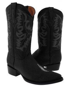 Men's Black Single Stone Stingray Diamond Design Western Cowboy Boots J - EP1