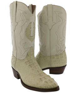 Men's Tan Beige All Real Crocodile Skin Head Cut Cowboy Boots J Toe - BD1
