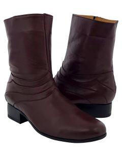 Men's Burgundy 'Stefano 2' Leather Western Cowboy Zipper Boots Round Toe