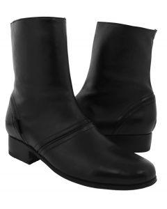 Men's Black 'Stefano 4' Leather Western Cowboy Zipper Boots Round Toe