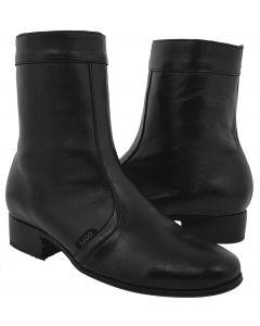 Men's Black 'Stefano 5' Leather Western Cowboy Zipper Boots Round Toe