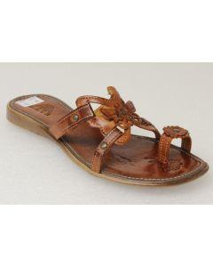 Women's Flower Flip Flops Leather Huaraches Mexican Sandals Hand Woven