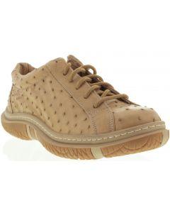 Men's Sand Genuine Exotic Ostrich Skin Comfort Sneaker