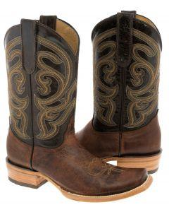 Men's Dark Chedron Stitched Leather Cowboy Boots Western Dubai Toe - TC1