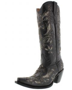 Women's T670C Black Tall Cross Inlay Python Design Cowboy Boots Snip Toe - CP2