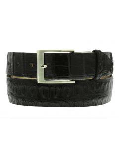Men's Black Genuine Crocodile Skin Belt Silver Buckle