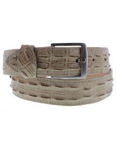 Men's Sand Crocodile Hornback Print Leather Western Belt Silver Buckle