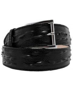 Men's Black Iguana Print Genuine Leather Cowboy Belt Silver Buckle