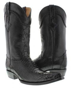Men's Black Genuine Python Back Snake Skin Cowboy Boots 3X Toe