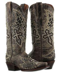 Women's Alas Brown Cross & Wings Inlay Rhinestones Cowboy Boots Snip Toe - CP5