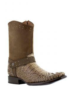 Men's Light Brown Crocodile Hornback Zipper Cowboy Boots Square Toe