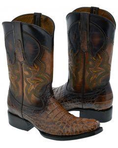 Men's Cognac Brown Crocodile Print Western Leather Cowboy Boots Square Toe