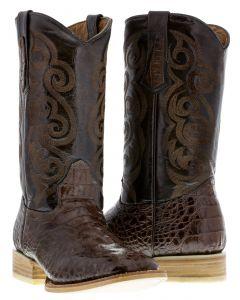 Men's Brown Crocodile Hornback Design Leather Cowboy Boots Square Toe