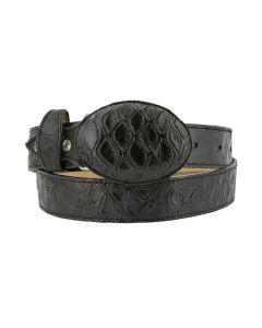 Men's Black Anteater Print Leather Western Cowboy Belt Round Buckle
